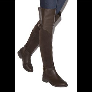 NIB Shoe Dazzle Faux Leather Over the Knee Boots